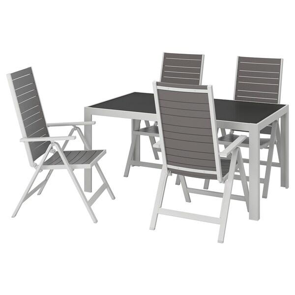 SJÄLLAND Tavolo+4 sedie relax, da giardino vetro grigio, grigio chiaro 156x90 cm
