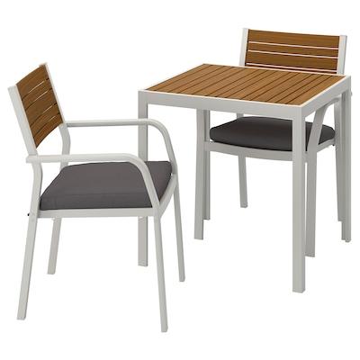 SJÄLLAND Tavolo+2 sedie braccioli, giardino, marrone chiaro/Frösön/Duvholmen grigio scuro, 71x71x73 cm