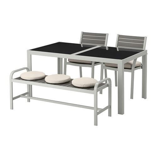 SJÄLLAND Tavolo+2 sedie+panca da giardino - Själland vetro ...