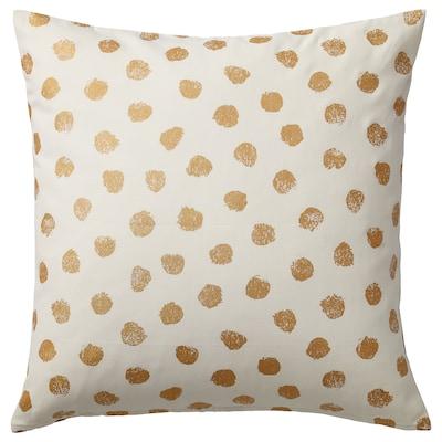 SKÄGGÖRT Fodera per cuscino, bianco/dorato, 50x50 cm