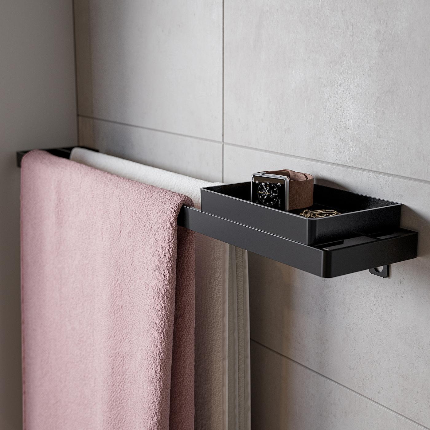 colore: Nero Vassoio per smalto da bagno impilabile 10 x 15 cm Ikea SKOGSVIKEN