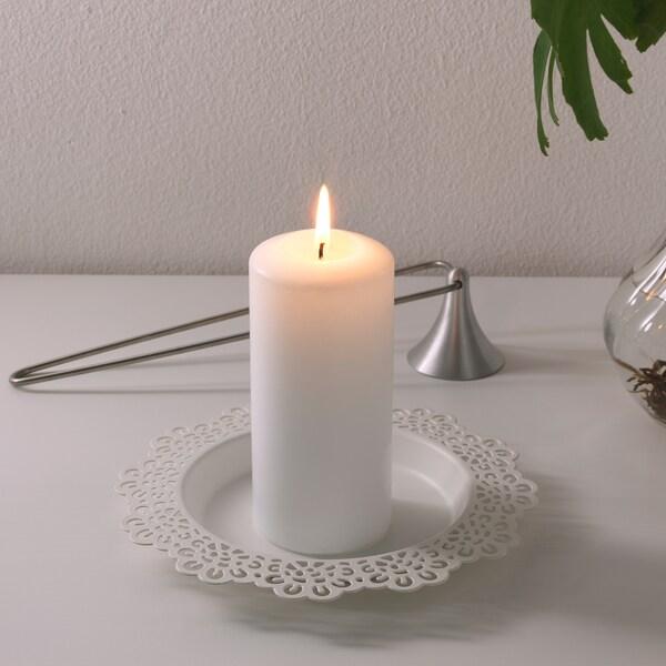 SKURAR Base per candela, bianco, 18 cm