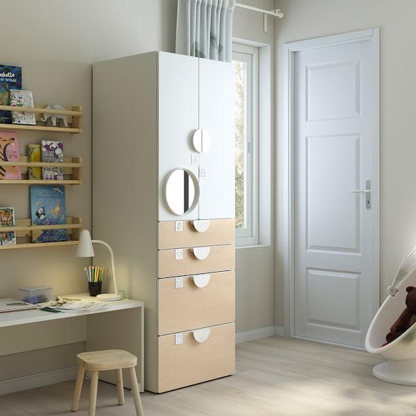 SMÅSTAD Guardaroba, bianco/betulla con 4 cassetti, 60x57x181 cm