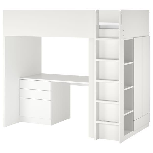 SMÅSTAD Letto a soppalco, bianco bianco/con scrivania con 4 cassetti, 90x200 cm