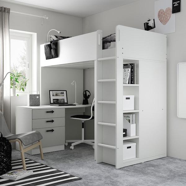 SMÅSTAD Letto a soppalco, bianco grigio/con scrivania con 4 cassetti, 90x200 cm
