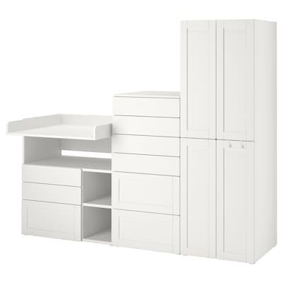 SMÅSTAD / PLATSA Combinazione di mobili, bianco con cornice/con fasciatoio, 210x79x180 cm