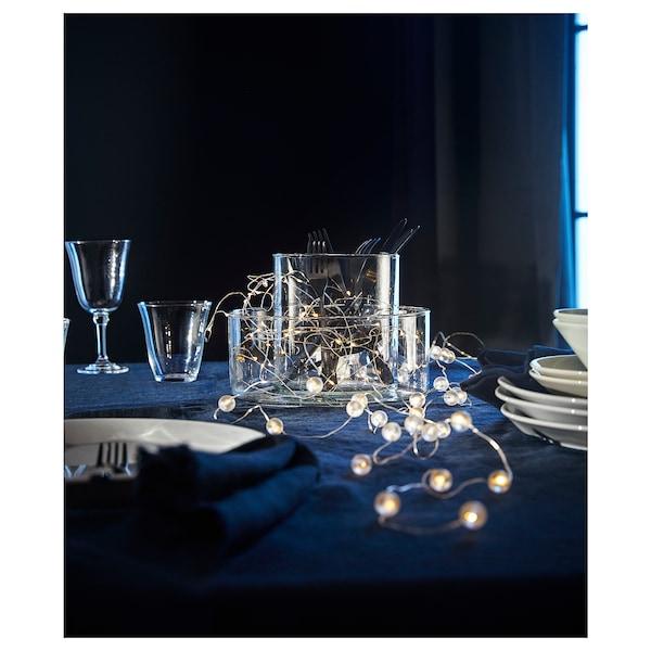 SNÖYRA Illuminazione a LED 40 luci, per interni/a batterie color argento