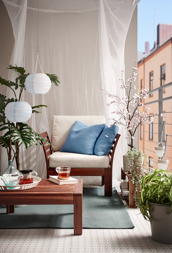 SÖTHOLMEN Fodera per cuscino, interno/esterno, azzurro, 50x50 cm