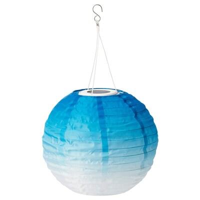SOLVINDEN Lampada sospensione LED energia sol, da esterno/globo sfumature di blu, 30 cm