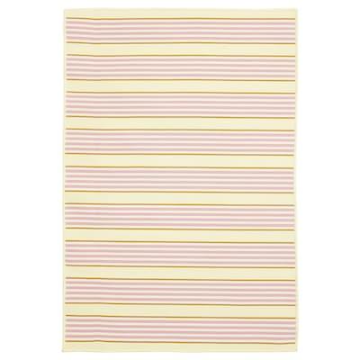 SOMMAR 2020 tappeto tessitura piatta int/est a righe/rosa/giallo 100 cm 70 cm 2 mm 0.70 m² 800 g/m²