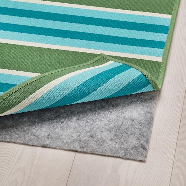 SOMMAR 2020 Tappeto tessitura piatta int/est, a righe/verde/bianco, 170x240 cm