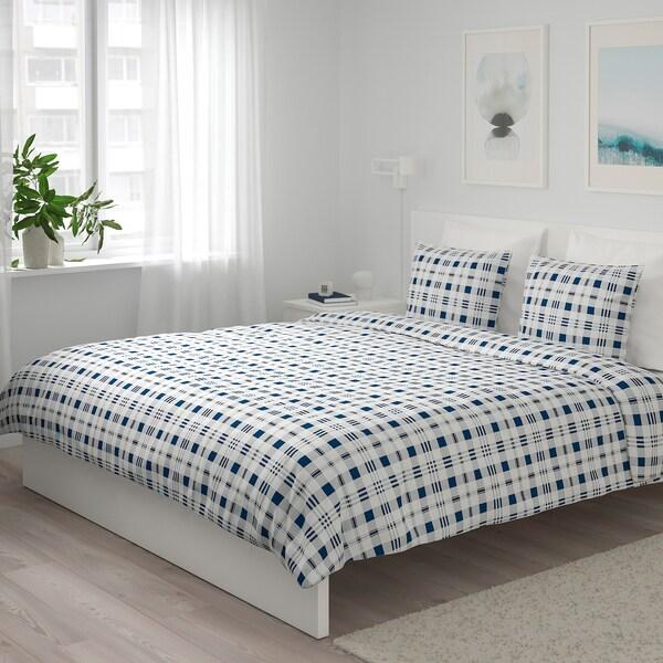 SPIKVALLMO Copripiumino e 2 federe, bianco blu/a quadri, 240x220/50x80 cm