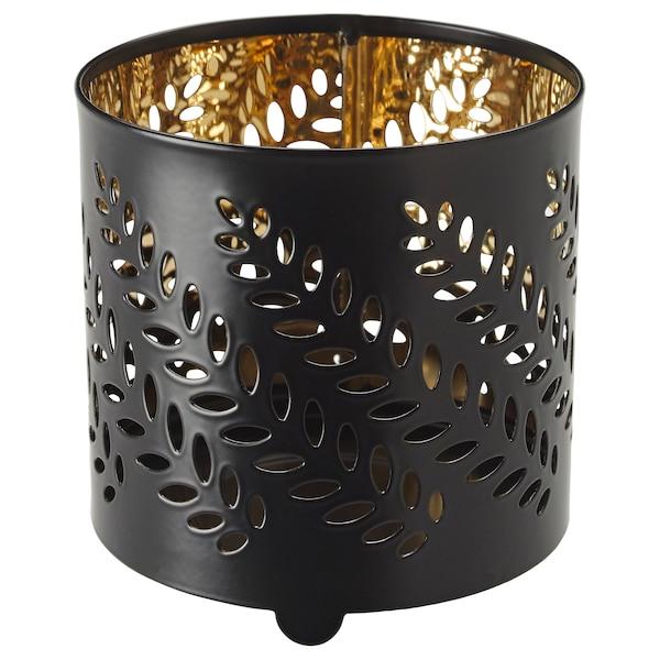 STABBIG Decorazione per candela con vetro, nero, 8 cm