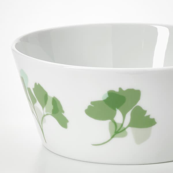 STILENLIG Ciotola, motivo foglie bianco/verde, 13 cm