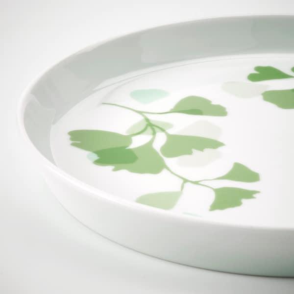 STILENLIG Piatto frutta, motivo foglie bianco/verde, 17 cm