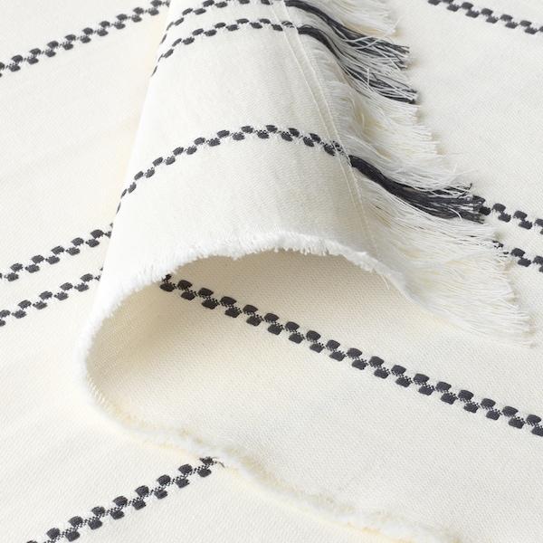 STINAMAJ Plaid, bianco/grigio scuro, 130x170 cm