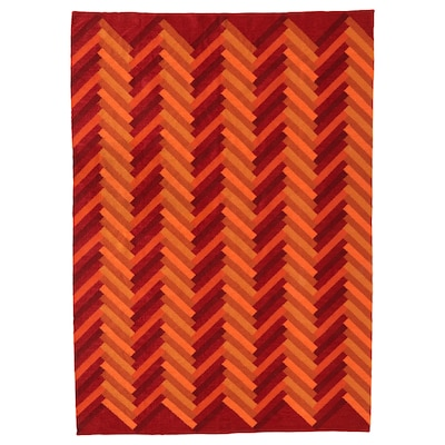 STOCKHOLM 2017 Tappeto, tessitura piatta, fatto a mano/motivo a zig-zag arancione, 170x240 cm