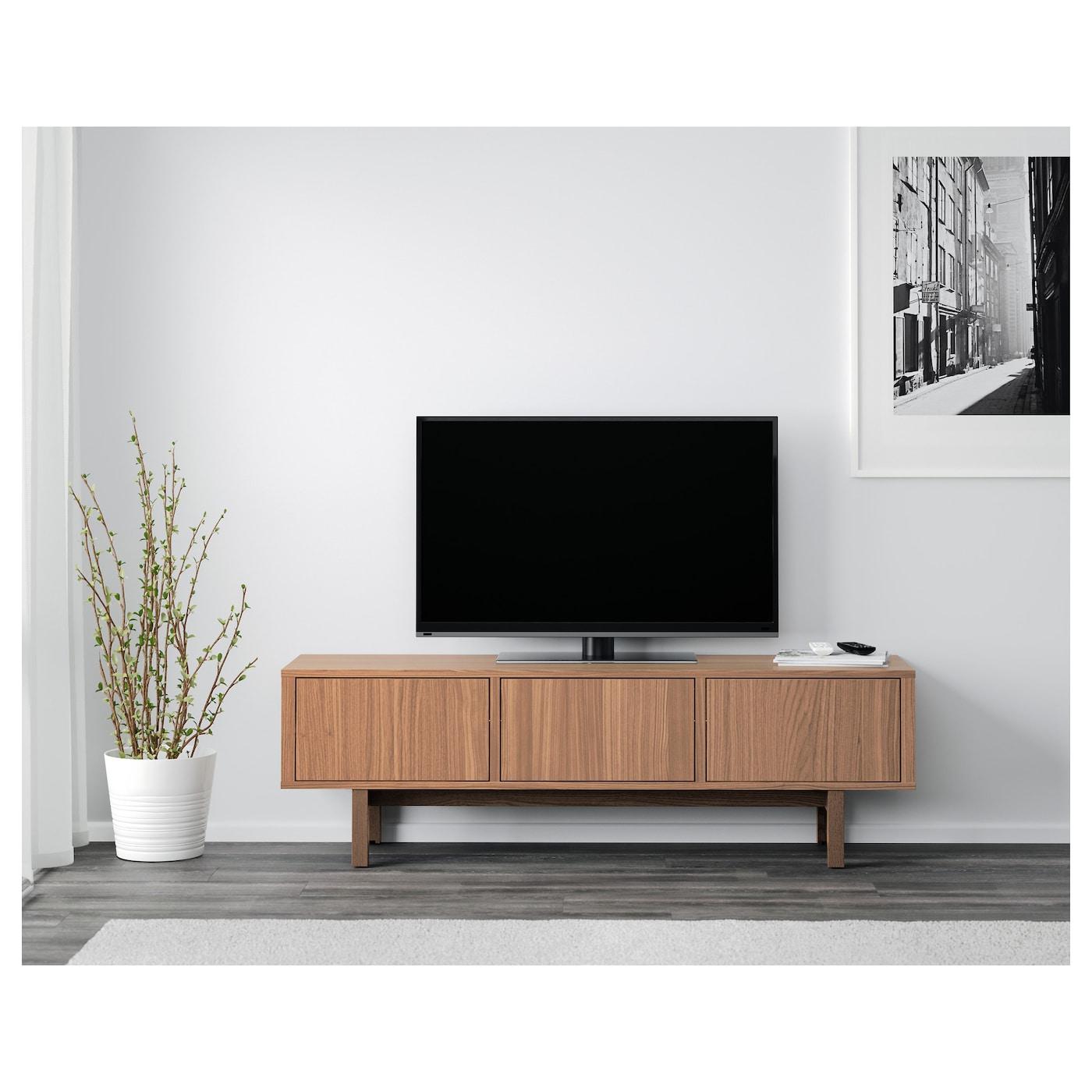 STOCKHOLM Mobile TV impiallacciatura di noce 160x40x50 cm