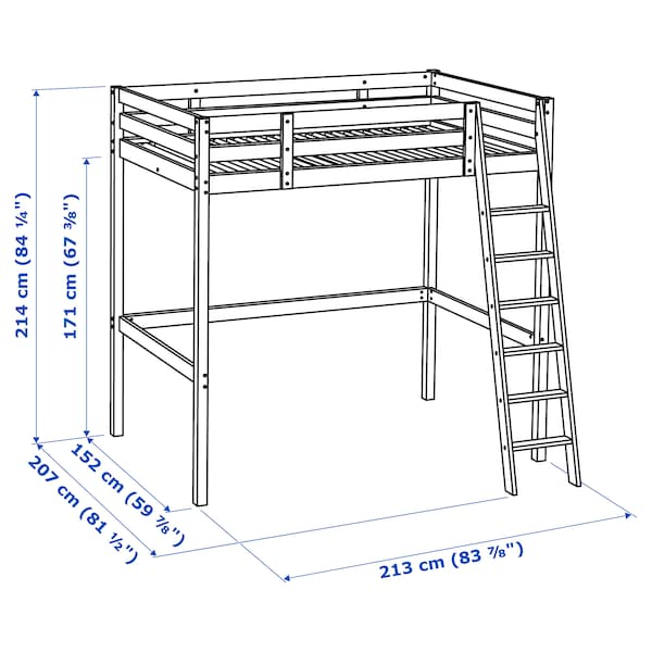 Dimensioni Letto A Castello.Stora Struttura Per Letto A Soppalco Nero Ikea
