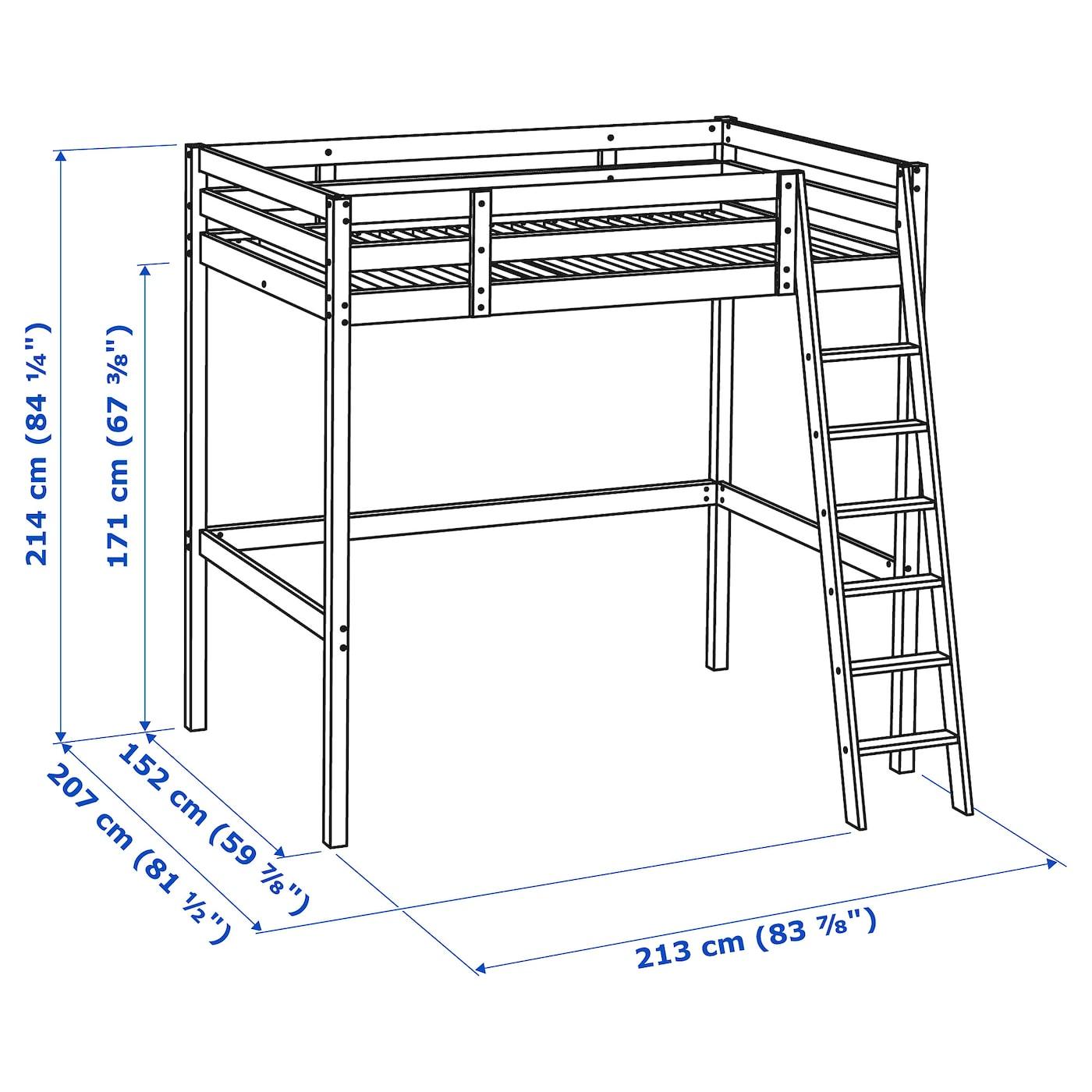 Letti A Castello In Ferro Ikea.Stora Struttura Per Letto A Soppalco Mordente Bianco 140x200 Cm