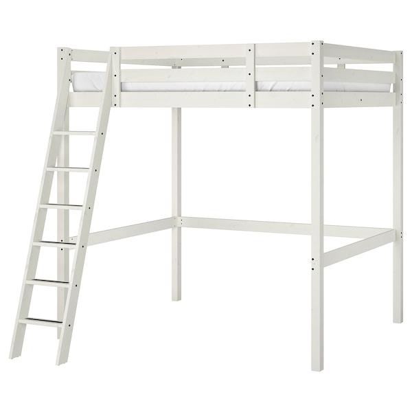 STORÅ Struttura per letto a soppalco, mordente bianco, 140x200 cm