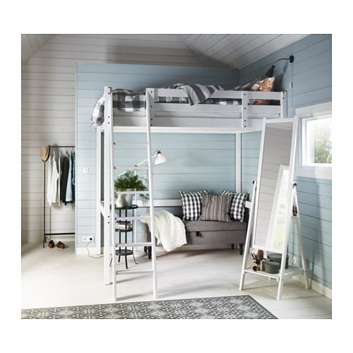 Stor struttura per letto a soppalco mordente bianco ikea - Ikea letti a soppalco ...
