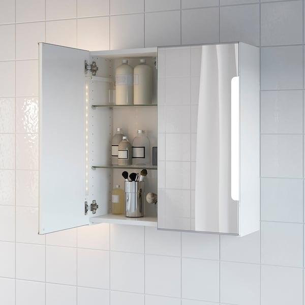 STORJORM Mobile specchio/2ante/illuminazione, bianco, 60x21x64 cm