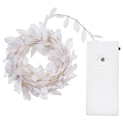 STRÅLA Illuminazione a LED 40 luci, a batterie foglia/bianco