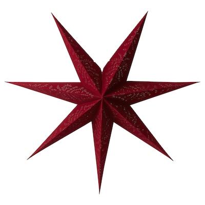 STRÅLA Paralume, velluto rosso, 90 cm