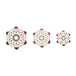 STRÅLA Set di 3 decorazioni tavolo a LED, bianco, rosso a batterie