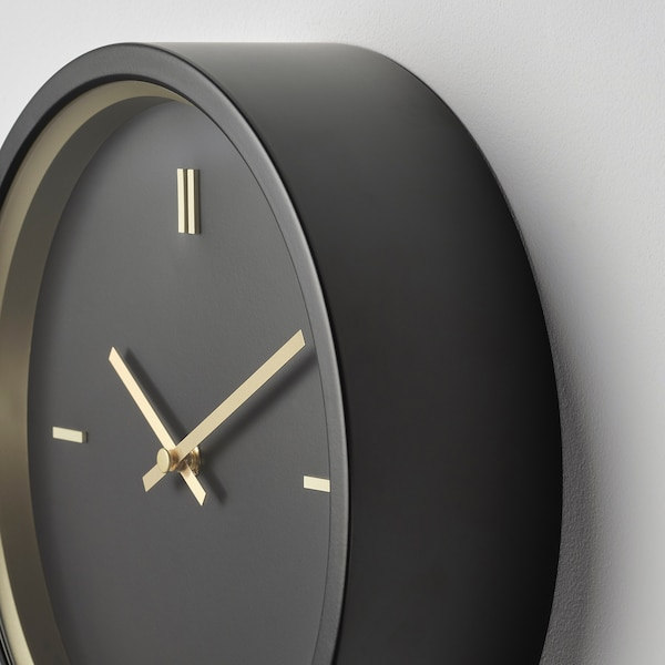 STURSK Orologio da parete, nero, 26 cm