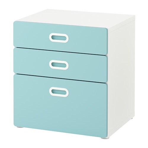 Cassettiera Per Cameretta Ikea.Stuva Fritids Cassettiera Con 3 Cassetti Bianco Azzurro Ikea