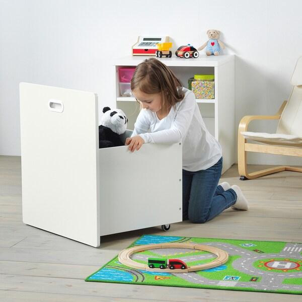 STUVA / FRITIDS Contenitore giocattoli con rotelle, bianco/bianco, 60x50x64 cm