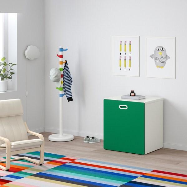 STUVA / FRITIDS Contenitore giocattoli con rotelle, bianco/verde, 60x50x64 cm