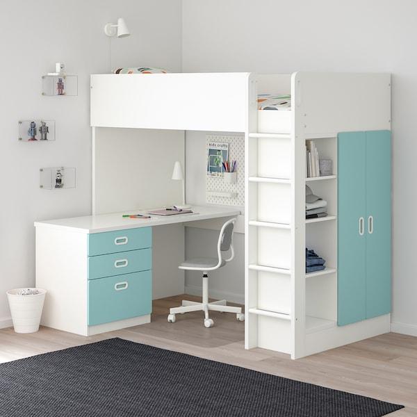 Letti A Castello Ikea Per Bambini.Stuva Fritids Letto Soppalco 3 Cassetti 2 Ante Bianco Azzurro