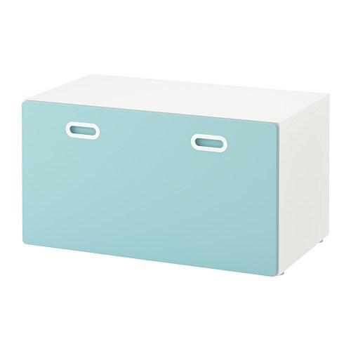 Cassapanca Plastica Per Giocattoli.Stuva Fritids Panca Con Contenitore Giocattoli Bianco Azzurro Ikea