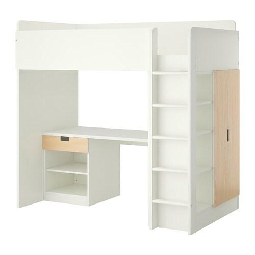 STUVA Letto soppalco/1 cassetto/2 ante - bianco/betulla - IKEA