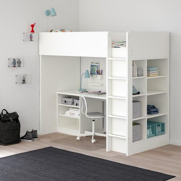 Ikea Letti A Castello Una Piazza E Mezza.Stuva Letto Soppalco 2 Ripiani 3 Ripiani Bianco 207x99x182 Cm Ikea