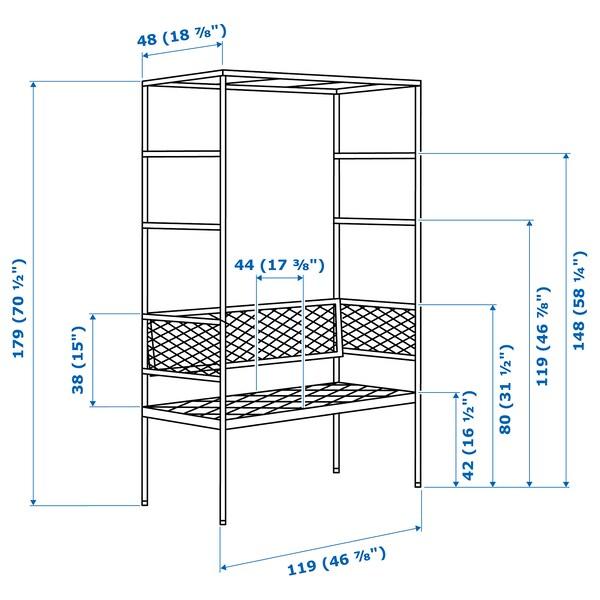 SVANÖ Panca con pergola, grigio, 119x48 cm