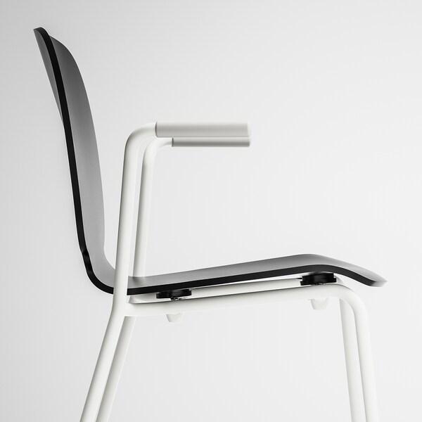 SVENBERTIL Sedia con braccioli, nero, Dietmar bianco IKEA