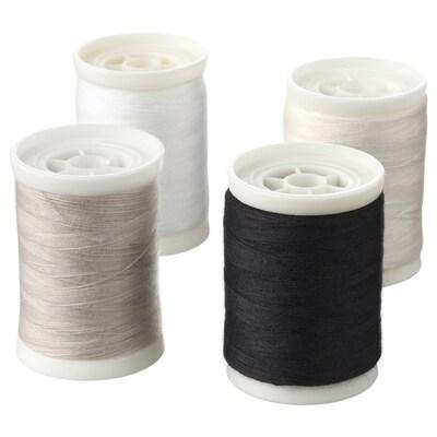 SY filo da cucito bianco/nero/color naturale 300 m 4 pezzi