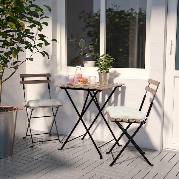 TÄRNÖ Sedia da giardino, pieghevole nero/mordente marrone chiaro