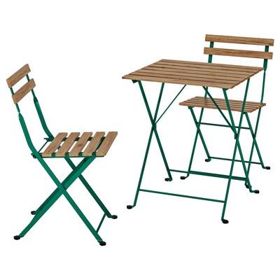 TÄRNÖ Tavolo+2 sedie da giardino, verde scuro/mordente marrone chiaro