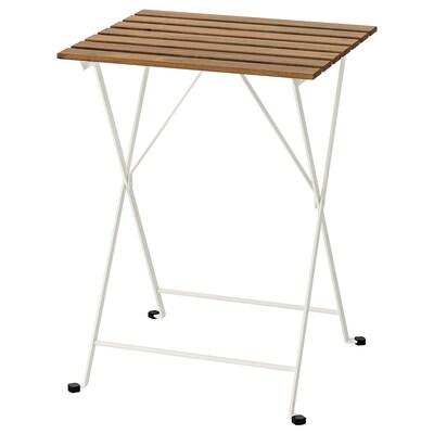 TÄRNÖ Tavolo da giardino, bianco/mordente marrone chiaro, 55x54 cm