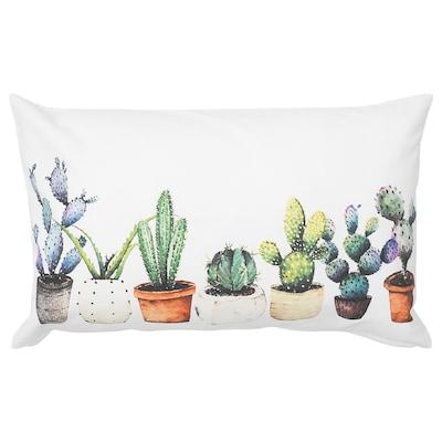 TIBASTMAL Fodera per cuscino, bianco/cactus, 65x40 cm
