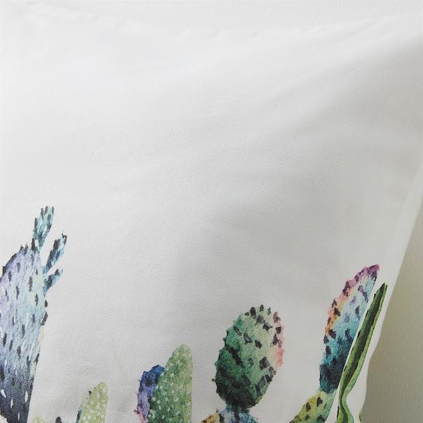 TIBASTMAL Fodera per cuscino, bianco/cactus, 50x50 cm