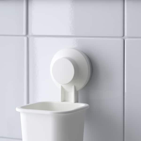 TISKEN Portaspazzolino con ventosa, bianco