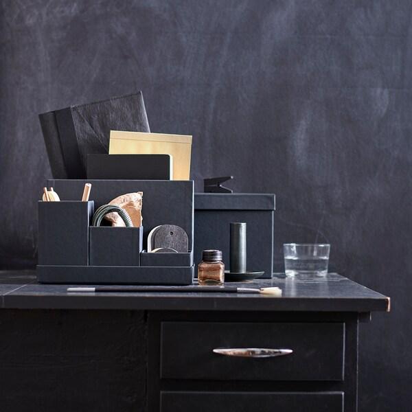 TJENA Portaoggetti, nero, 18x17 cm