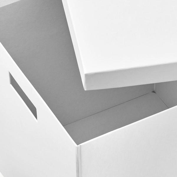 TJENA Scatola con coperchio, bianco, 32x35x32 cm