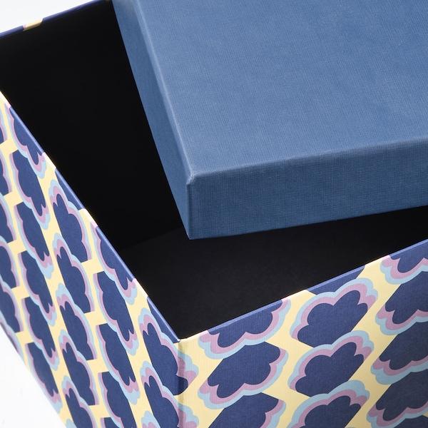 TJENA Scatola con coperchio, blu/fantasia, 18x25x15 cm